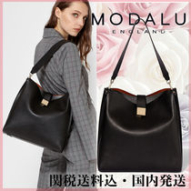 Modalu Plain Leather Office Style Shoulder Bags