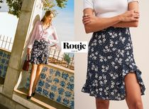 Rouje Flower Patterns Bi-color Elegant Style Skirts