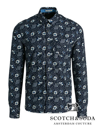 Button-down Flower Patterns Street Style Long Sleeves Cotton