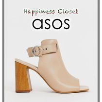 ASOS Open Toe Casual Style Plain Leather Block Heels