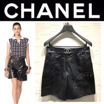 CHANEL ICON Short Casual Style Blended Fabrics Street Style Chain Plain