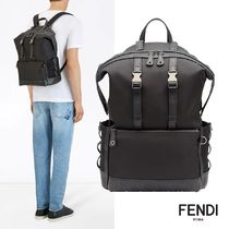 FENDI FOREVER Plain Leather Backpacks