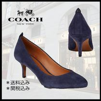 Coach Round Toe Plain Leather Pin Heels Elegant Style