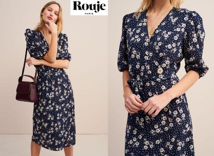 Wrap Dresses Flower Patterns Dots Puffed Sleeves V-Neck