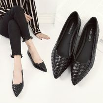 Other Check Patterns Faux Fur Elegant Style Slip-On Shoes