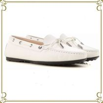 TOD'S Round Toe Plain Leather Elegant Style Loafer Pumps & Mules