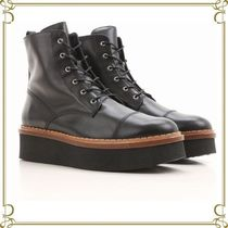 TOD'S Platform Round Toe Casual Style Plain Leather