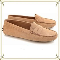TOD'S Round Toe Rubber Sole Suede Plain Elegant Style