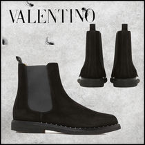 VALENTINO Monogram Suede Blended Fabrics Street Style Chelsea Boots