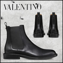 VALENTINO Monogram Blended Fabrics Street Style Chelsea Boots