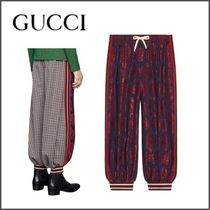 GUCCI Printed Pants Stripes Other Check Patterns Blended Fabrics