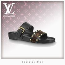 Louis Vuitton Monogram Open Toe Casual Style Studded Leather Sandals
