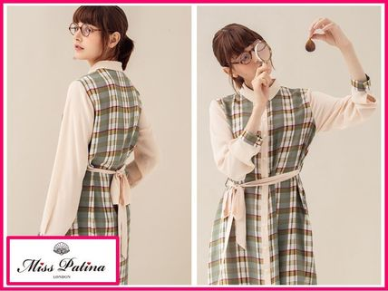 Gingham Other Check Patterns Casual Style Long Sleeves