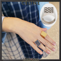 CELINE Leopard Patterns Unisex Street Style Metal Rings