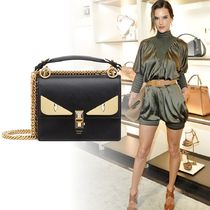 FENDI KAN I Studded 2WAY Chain Leather Elegant Style Handbags