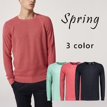DSTREZZED Crew Neck Pullovers Street Style Long Sleeves Sweaters