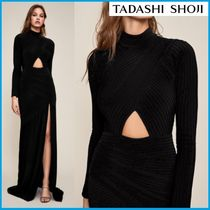 TADASHI SHOJI Tight Long Sleeves Plain Long High-Neck Dresses