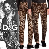 Dolce & Gabbana Printed Pants Leopard Patterns Cotton Patterned Pants