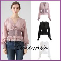 Chicwish Flower Patterns Peplum Puffed Sleeves Medium Elegant Style