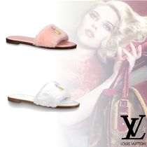 Louis Vuitton Open Toe Platform Faux Fur Plain Elegant Style