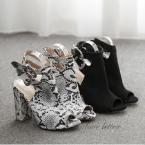 Open Toe Casual Style Faux Fur Plain Python Chunky Heels
