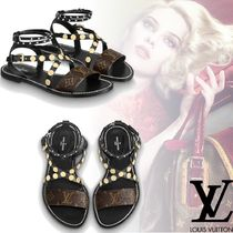 Louis Vuitton Monogram Open Toe Platform Leather Elegant Style