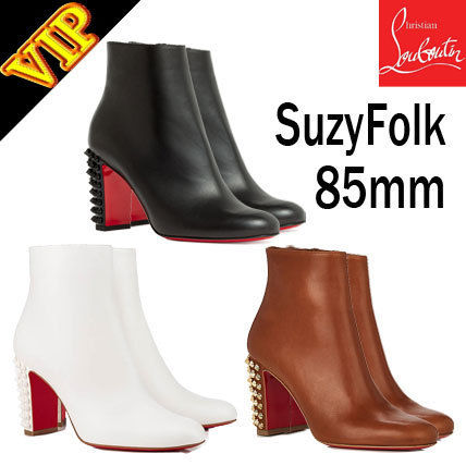 reputable site 898ff 4b12f Christian Louboutin 2019 SS Studded Bi-color Leather Elegant Style Ankle &  Booties Boots (1190299, 1190299W189 )