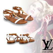 Louis Vuitton Open Toe Platform Plain Leather Elegant Style