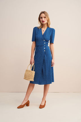 Wrap Dresses Dots V-Neck Bi-color Medium Short Sleeves Midi