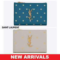 Saint Laurent Star Unisex Studded Street Style Leather Folding Wallets
