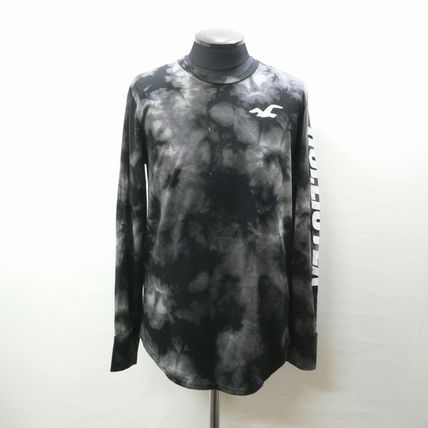Crew Neck Tie-dye Long Sleeves Cotton Long Sleeve T-Shirts