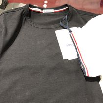 MONCLER Crew Neck Plain Cotton Short Sleeves Logos on the Sleeves