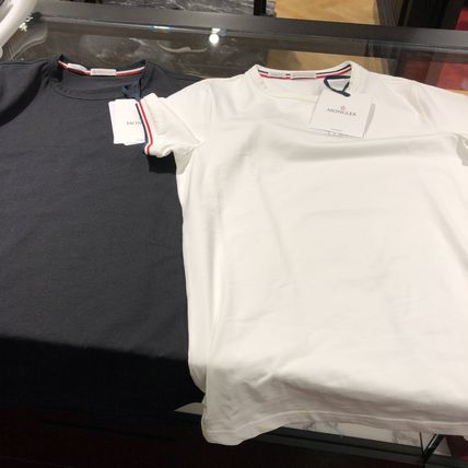 MONCLER Crew Neck Crew Neck Plain Short Sleeves Logos on the Sleeves