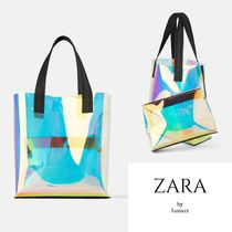 ZARA Casual Style Plain Crystal Clear Bags Totes