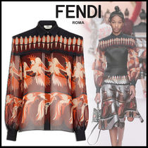 FENDI Silk Long Sleeves Other Animal Patterns Medium Elegant Style