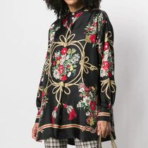 GUCCI Flower Patterns Silk Long Sleeves Long Elegant Style