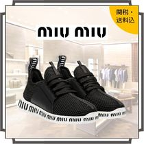 MiuMiu Round Toe Rubber Sole Lace-up Casual Style Blended Fabrics