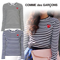 COMME des GARCONS Heart Street Style U-Neck Long Sleeves Cotton T-Shirts