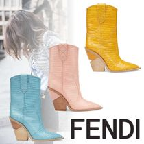 FENDI Cowboy Boots Casual Style Plain Other Animal Patterns