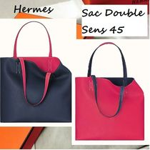 HERMES Double Sens 2WAY Leather Handmade Elegant Style Handbags