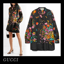 GUCCI Flower Patterns Silk Long Sleeves Long Shirts & Blouses