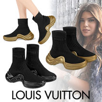 Louis Vuitton Round Toe Rubber Sole Casual Style Blended Fabrics