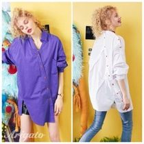 ELF SACK Casual Style Street Style Bi-color Long Sleeves Plain Cotton