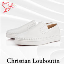 Christian Louboutin Studded Street Style Plain Leather Loafers & Slip-ons