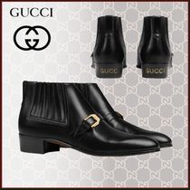 GUCCI Plain Toe Blended Fabrics Studded Street Style Plain Leather