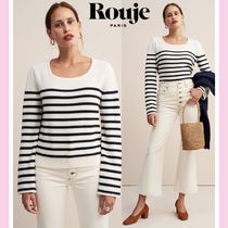 Rouje Stripes Casual Style Wool Long Sleeves Medium