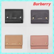 Burberry Unisex Calfskin Street Style Bi-color Plain Folding Wallets