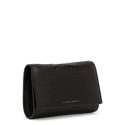2WAY Chain Plain Leather Python Clutches