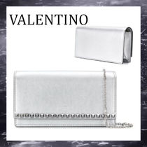 VALENTINO Studded 2WAY Chain Elegant Style Clutches