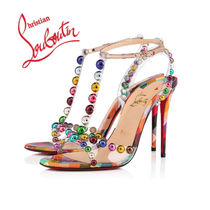Christian Louboutin Open Toe Studded Leather Pin Heels Elegant Style